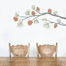 Pine Cone Branch Wall Decal Pine Branch Wall Sticker