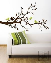 Tree Branch Wall Decal Love Birds On Branch With Leaves Etsy