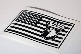 Amazon Com 101st Airborne Patch Embedded In Us Flag Vinyl Decal Black 8 Inches Wide Automotive
