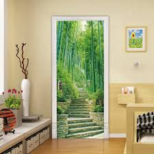 Bamboo Grove Forest Scenery Door Stickers Wall Decals Bedroom Decoration Living Room Murals Posters Wall Stickers Aliexpress