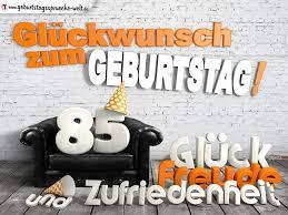 Glückwünsche zum 85. Geburtstag mit 3D-Buchstaben und Sofamotiv -  Geburtstagssprüche-Welt