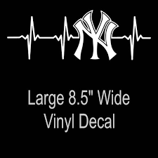 New York Yankees Heartbeat Vinyl Decal Sticker Large 8 5 X 3 Etsy