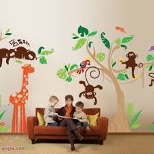Jungle Wall Decals Nursery Wall Decals With Little Monkeys Etsy