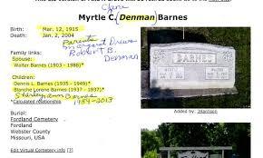 Myrtle Clara Barnes (Denman) (1915 - 2004) - Genealogy