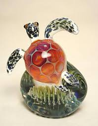 turtle paperweight arte em vidro