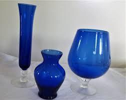 vintage cobalt blue vases posy vase