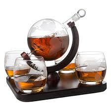 etched world decanter globe decanter