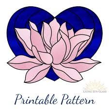 lotus flower heart stained glass