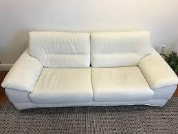 natuzzi sofa white leather three seats