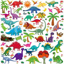 Amazon Com Wall Stickers Decorative Dinosaur Stickers For Boys Girls 77pcs Colorful Assorted Dino Wall Decals For Bedroom Baby Nursery Classroom Playroom And More Kitchen Dining
