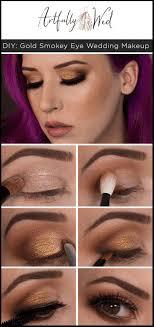diy gold smokey eye wedding makeup