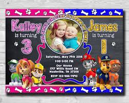 Chalkboard Paw Patrol Photo Invitation Boy Girl Twins Invitation