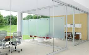office management with glass partition