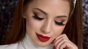smokey eye red lips makeup tutorial