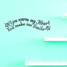 Custom Wall Decal Vinyl You Warm My Heart You Make Me Smile Home Decor Picture Art 12 X 30 Inches Walmart Com Walmart Com