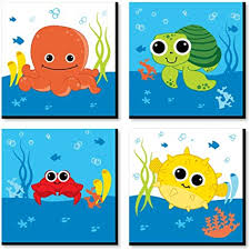 Amazon Com Big Dot Of Happiness Under The Sea Critters Kids Room Nursery Decor And Home Decor 11 X 11 Inches Nursery Wall Art Set Of 4 Prints For Baby S Room Toys Games