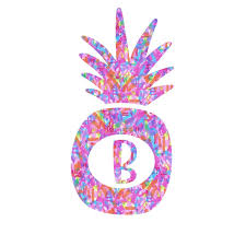 Amazon Com Letter B Pineapple Decal Monogram Initial Vinyl Sticker For Yeti Cup Tumbler Laptop Car Window Accessories 3 25 Inches X 2 Inches Handmade