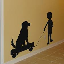 Little Boy Pulling Puppy On A Wagon Silhouette Wall Decals