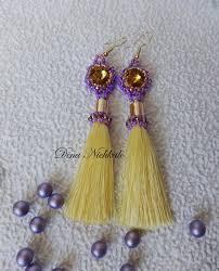 yellow beaded tassel earrings bright