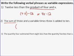 verbal expressions to algebraic
