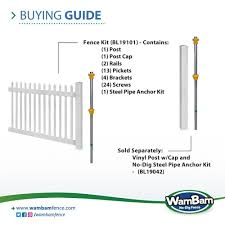 Wambam No Dig Bl19101 Nantucket Picket Vinyl Fence White