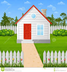 Cartoon Wooden House Inside The Fence Stock Vector Illustration Of Cottage Home 111542311