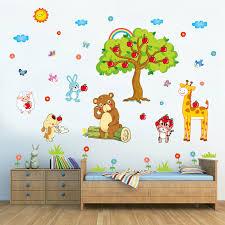 Wall Stickers Murals Jungle Animals Tree Wall Decal Giraffe Elephant Birds Wall Sticker Vinyl Art Kids Rooms Baby Wallpaper Murals Sticker Nursery Decor Diy Tree Decals Anber Wall Decor Room Decor