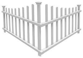 Ashley No Dig Vinyl Corner Picket Accent Fence Transitional Home Fencing And Gates By Wambam Fence Inc