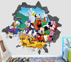 Amazon Com Mickey Mouse Club Wall Decal Smashed 3d Sticker Vinyl Decor Mural Kids Broken Wall 3d Designs Op464 Giant Wide 50 X 46 Height Home Kitchen