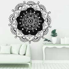 Vinyl Wall Decal India Henna Mandala Flower Wall Sticker Abstract Home Decoration Living Room Bedroom Background Wall Z539 Wall Stickers Aliexpress