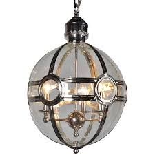 iron frame glass round chandelier