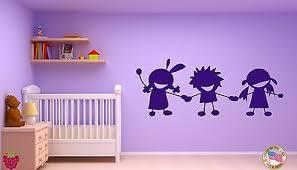 Wall Vinyl Sticker Decal Three Playing Kids Holding Hands Cartoon Joy Art M006 Ebay