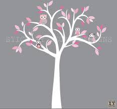 Owl Decal Owl Tree Wall Sticker Pink Grey Owls Owl Wall Decal Nursery Owl Decor Shades Of Pink Design With W Owl Nursery Decor Owl Decal Owl Wall Decals