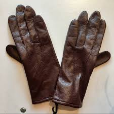 womens lined brown leather gloves