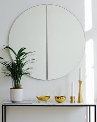 half circle round mirror frameless 80cm
