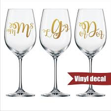 personalized wine glass decal monogram
