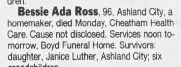 Obituary for Bessie Ada Ross (Aged 96) - Newspapers.com