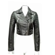 cropped biker leather jacket for women