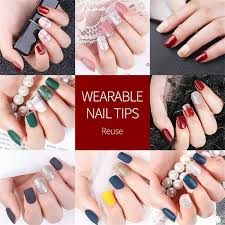 30x reusable fake nail tips stick on