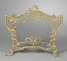 french art nouveau gilt metal fireplace