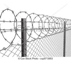 Chainlink Fence With Barbed Wire On Top Closeup Isolated On White Background