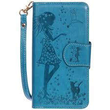 cat girl 9 card leather wallet case