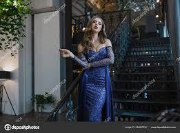 young wearing stylish blue dress