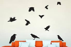 Black Crows Wall Decal Sticker Set Wall Decal Wallmonkeys Com