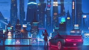 cyberpunk night city car buildings 4k