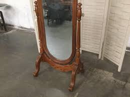 vintage standing mirror with oak frame