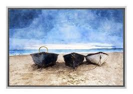 boats on beach canvas wall art