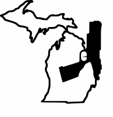 Michigan Gun Solid Pistol Vinyl Car Decal Michigan Decals Michigan Apparel Michigan Clothing