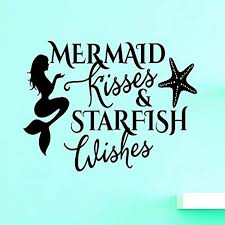 Amazon Com Design With Vinyl Top Selling Decals Mermaid Kisses Starfish Wishes Wall Art 20 X 40 Black Home Kitchen