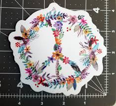 Peace Sign Of Flowers 4 5 Die Cut Sticker Floral Gypsy Hippie Decal Minglewood Trading